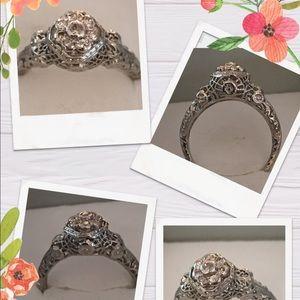 antique 18k white gold European cut diamond ring 8